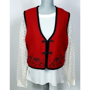 Vintage Dark Red Boiled Wool Embroidered Vest XL
